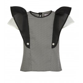 BS06 PETITE LOOK 26 BLACK WITH WHITE DOTS BLOUSE