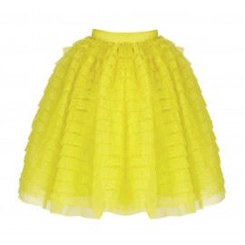 SS16 PETITE LOOK 24 YELLOW PLIS SKIRT