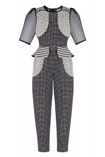 SS17 LOOK 19.1 BLACK WHITE PATTERN JUMPSUIT