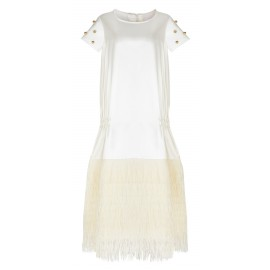 AW15 LOOK 12 CREAM FEATHER DRESS
