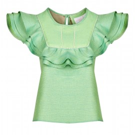 GREEN BLOUSE WITH FLOUNCES