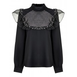 BLACK BLOUSE WITH HIGH COLLAR