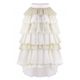 SKIRT CS05 SK18 CREAM-GOLD RUFFLES