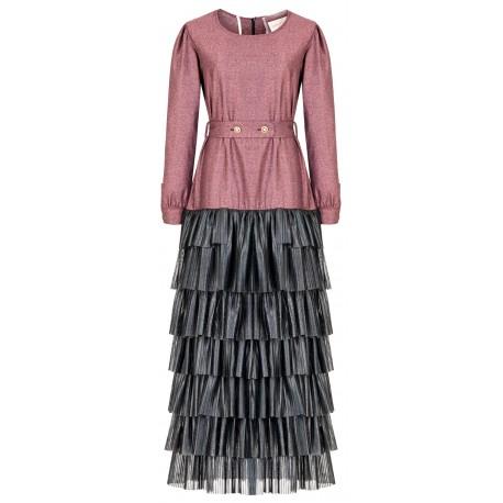 SS18 LOOK 03 WOMAN BURGUNDY DRESS